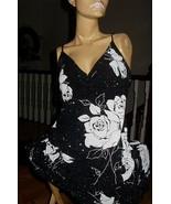 Black Slinky Womans Dress White Flowers Glittery Size M Medium Spaghetti... - $80.75
