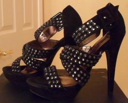 NIB STEVEN By STEVE MADDEN Flaash Black Suede Sandals 8 NEW (MAKE AN OFFER) - $168.30