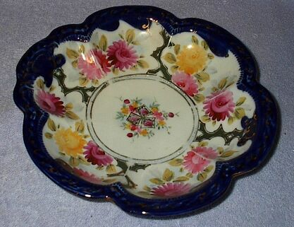 Floral Fluted Cobalt Edged Decorative Shallow Bowl