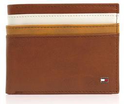 NEW TOMMY HILFIGER MEN'S LEATHER DOUBLE BILLFOLD ID WALLET HONEY TAN 31TL130014 image 8