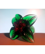 Glass Hummingbird Flower Green Red Heavy Paperw... - $19.99