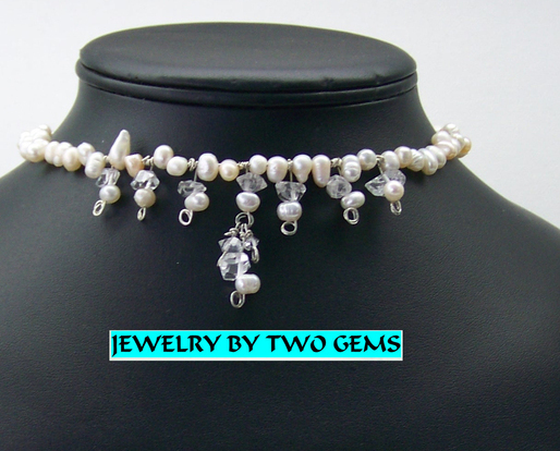 Jewelry By Two Gems (Wn41)  Miracle Wire w Pearls and Quartz