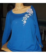 Bob Mackie Womans Top-Size M-Ocean Blue Blouse,Floral Embell - $62.00