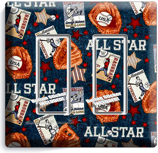 Primary image for BASEBALL VINTAGE ALL STAR DOUBLE ROCKER LIGHT SWITCH POWER WALL PLATE ROOM DECOR