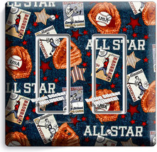 BASEBALL VINTAGE ALL STAR DOUBLE ROCKER LIGHT SWITCH POWER WALL PLATE RO... - $10.77