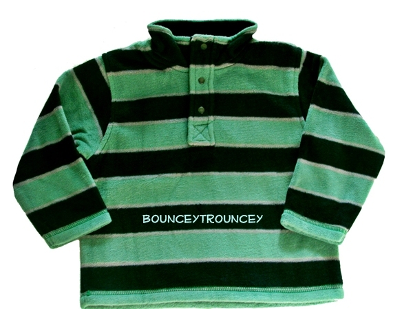 NWT Gymboree Snow Tracks Green Stripe Microfleece Snap Pullover Size 2T 3T