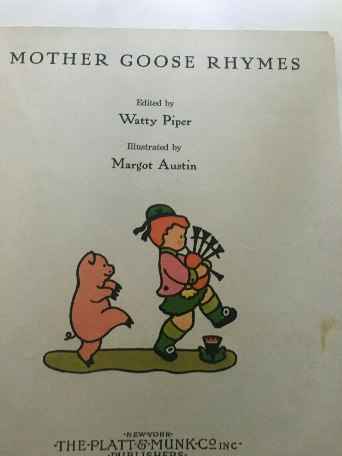 Vtg Mother Goose Rhymes Hard Cover Book Platt & Munk 1940 Margot Austin