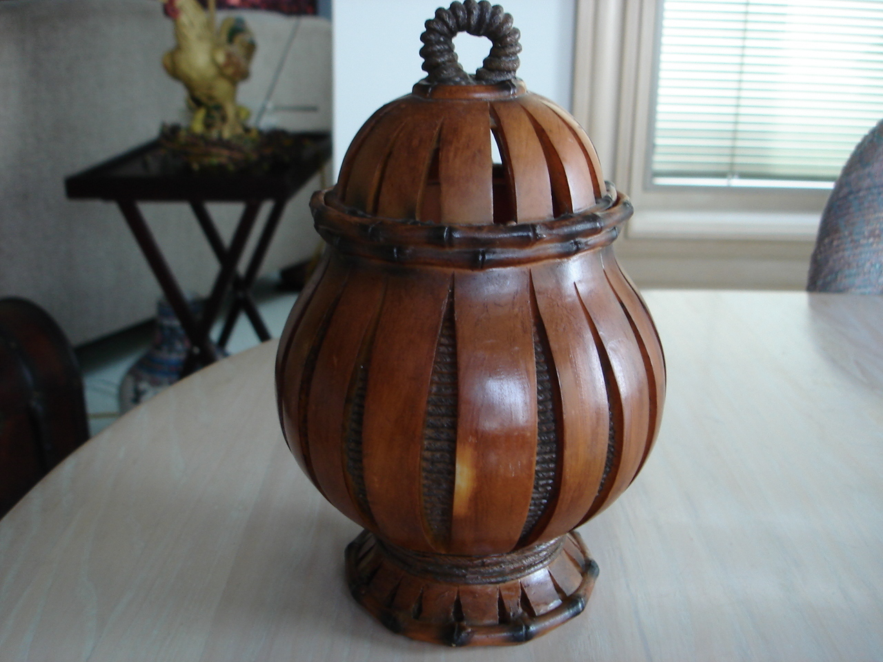Decorative Wood & Rope Look Covered Jar