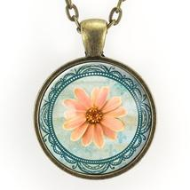 Pink Daisy Necklace, Bohemian Flower Jewelry - $15.00