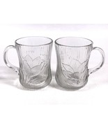 Lot of 2 Arcoroc Canterbury Crocus Clear Glass Mugs Cups Coffee Tea Embo... - $7.81
