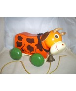Vintage Wooden Cow Pull Toy on Wheels,Leather e... - $22.00