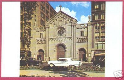 Detroit Mi St Aloysius Church Cars 1950's Postcard BJs