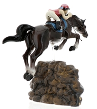 Hagen-Renaker Specialties Ceramic Horse Figurine Girl Show Jumping a Rock Wall image 4