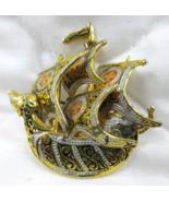 Viking Ship Boat Pin Brooch Damascene Maltese Crosses SPAIN Vtg  - $5.99