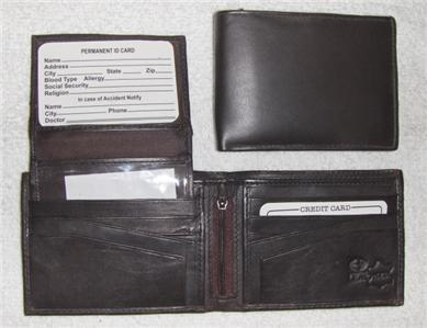 Genuine Leather Men's Bi-Fold Wallet- #533 BROWN
