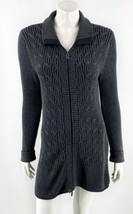 Eddie Bauer Womens Cardigan Sweater Size Small Charcoal Gray Zip Up Duster - $39.60