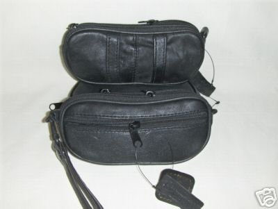 NEW Genuine Leather Double Eyeglass Case - BLACK