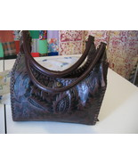 Vintage India Brown Tooled Genuine Leather Purs... - $26.00