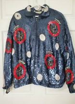 'The Icing' Vintage 1980's Sequined Anchor Zip-Up Bomber Jacket (L) 0310 - $111.09