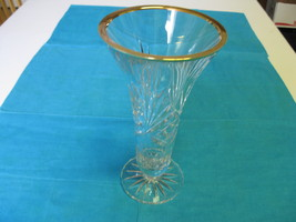 Elegant Glass Rogaska Richmond Crystal with Gold Trim Signed Vase  - $64.99