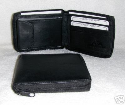 Genuine Leather Men's Zip Around Wallet- #56 BLACK