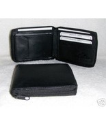 Genuine Leather Men's Zip Around Wallet- #56 BLACK - $18.00