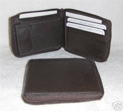 Genuine Leather Men's Zip Around Wallet- #56 BROWN