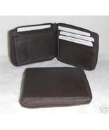 Genuine Leather Men's Zip Around Wallet- #56 BROWN - $18.00