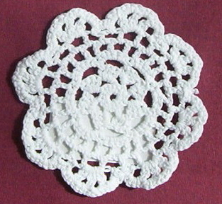 "4"" White Doily Great size to set your candle lamps on"