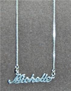Sterling Silver Name Necklace - Name Plate - MICHELLE