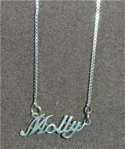 Sterling Silver Name Necklace - Name Plate - MOLLY