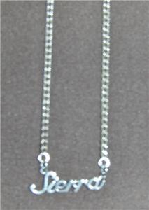 Sterling Silver Name Necklace - Name Plate - SIERRA