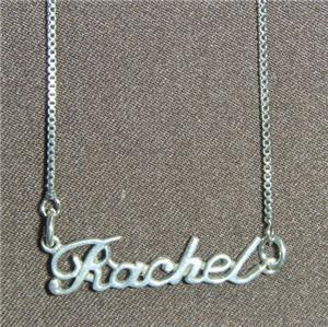Sterling Silver Name Necklace - Name Plate - RACHEL