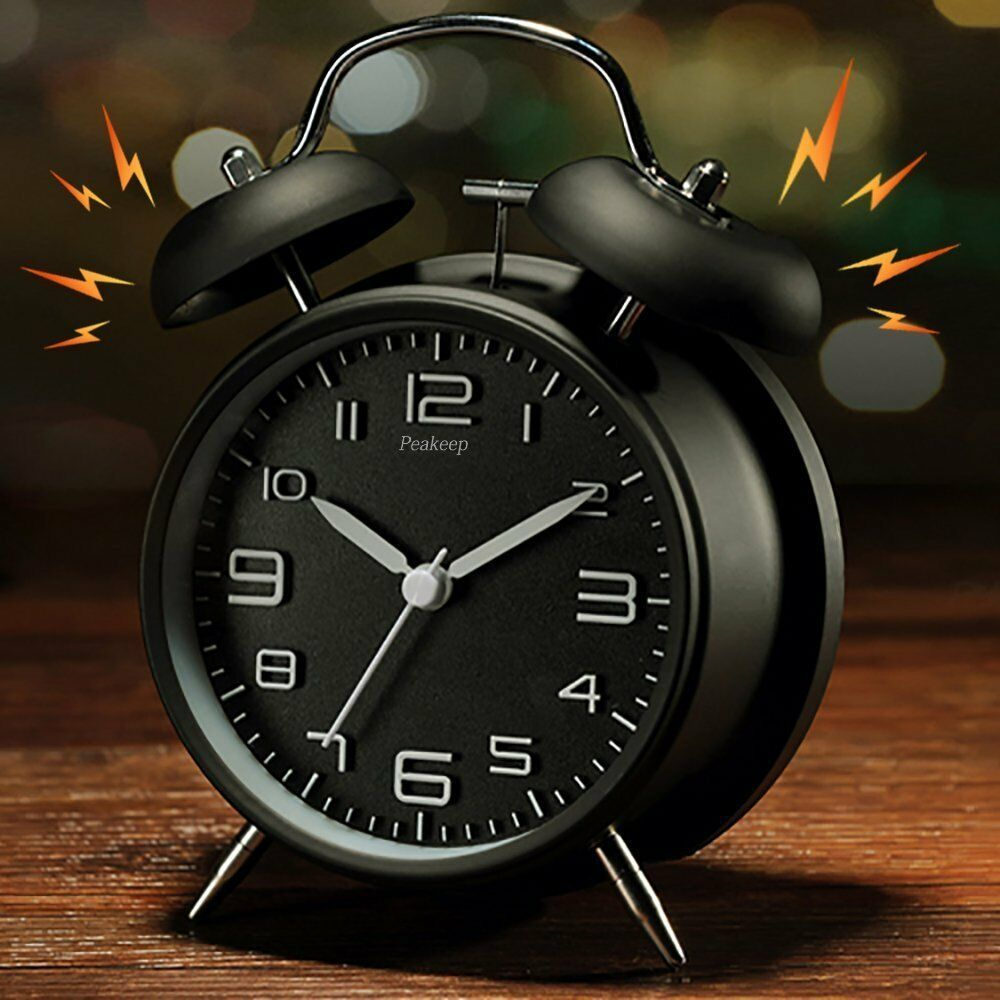Twin Bell Alarm Clock Stereoscopic Dial Backlight Battery Operated Loud Alarm image 2