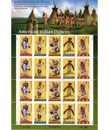 AMERICAN INDIAN DANCES - USPS, 0.32, MINT STAMP SHEET of 20 Stamps - $14.95