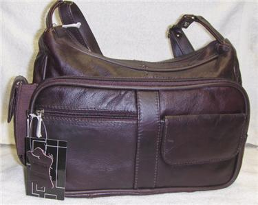 Genuine Leather Shoulder Bag, Purse, Handbag -3001-WINE