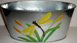 Oval Galvanized Tin Dragonfly Planter - $5.00