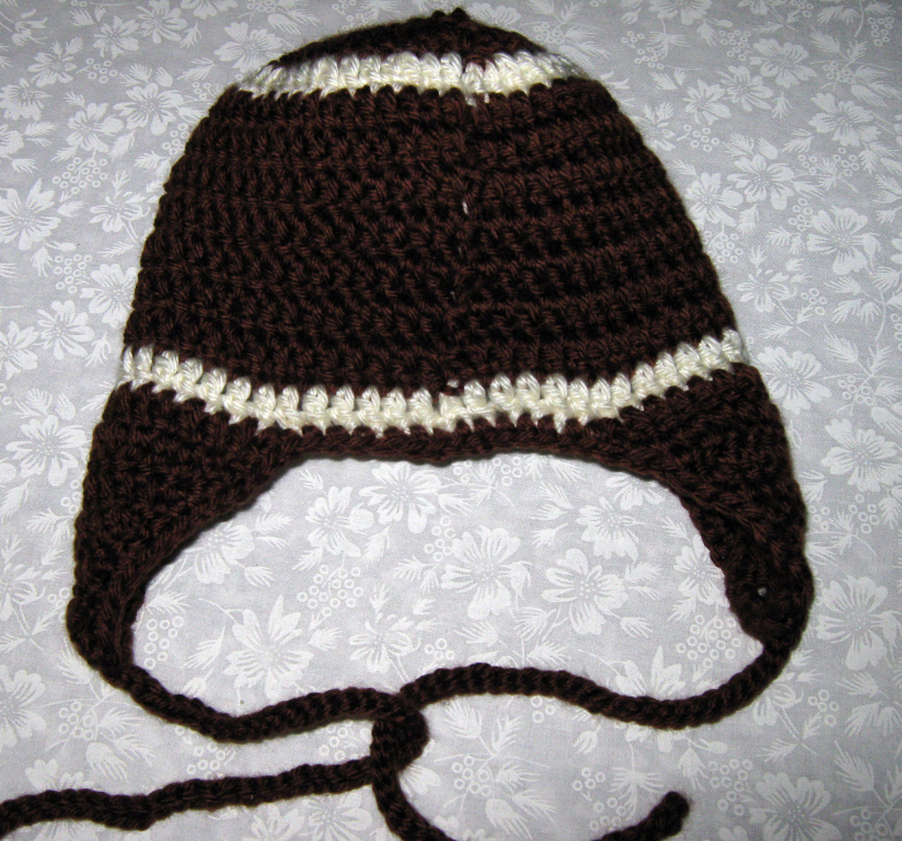 Crochet Baby Football Hat, 6 to 12 mos. with ear flaps, Brown and off white