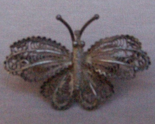 Pin  Sterling Silver  Fillagree  Butterfly  Vintage