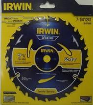 "Irwin 14130 7-1/4"" x 24 Tooth Decking Carbide Circular Saw Blade - $5.94"