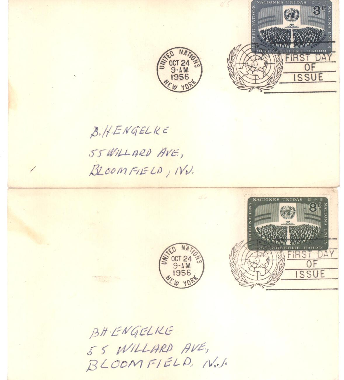 United nations 3   8 cents fdc