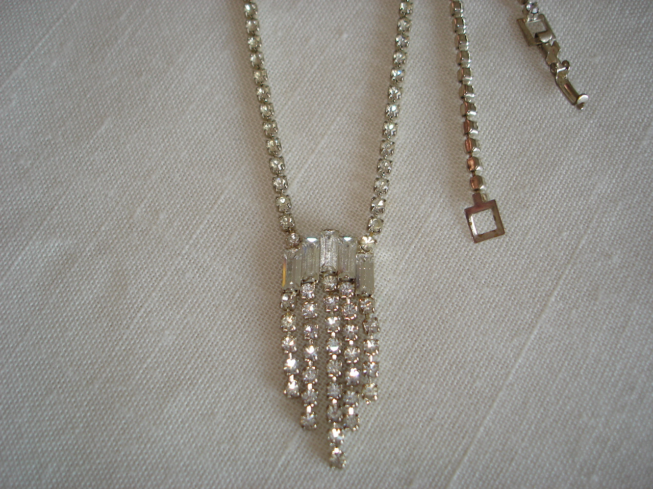 Vintage Silvertone Necklace, Paved Clear Rhinestone, Dangles