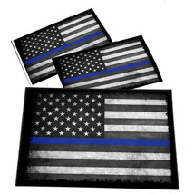 Thin Blue Line American Flag 2 Blue Line Decals Law Enforcement 4x6 Inch... - $9.55