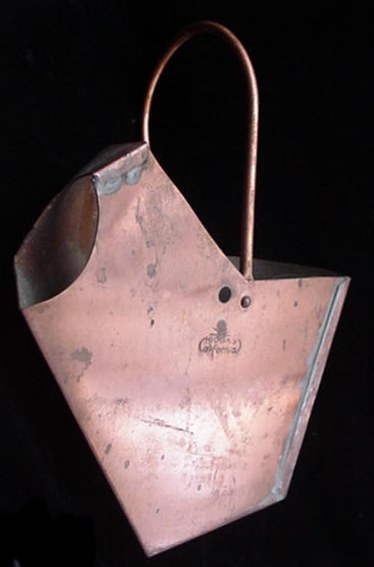 Old California Higgins Copper Bucket Pail Wall Pocket