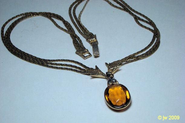 Topaz Glass 3 Chain Necklace