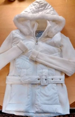 Primary image for Ashley Quilted Puffer Coat Junior Large Hooded Ribbed Faux Fur