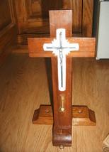 Wood Cross Crucifix Sick Call LAST RITE Sacrament Silver Metal Laminate ... - $32.31