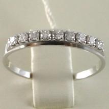 Bague en or Blanc 750 18K, Veretta 9 Diamants Carat en Tout 0.28, Tige Plat image 2