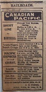 1903 Canadian Pacific Time Table Train Service Daily Telegraph Saint John NB Ad