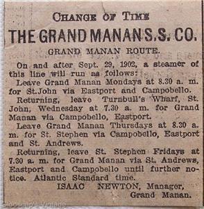 1903 Grand Manan S. S. Company Steam Ship Sailings Ad